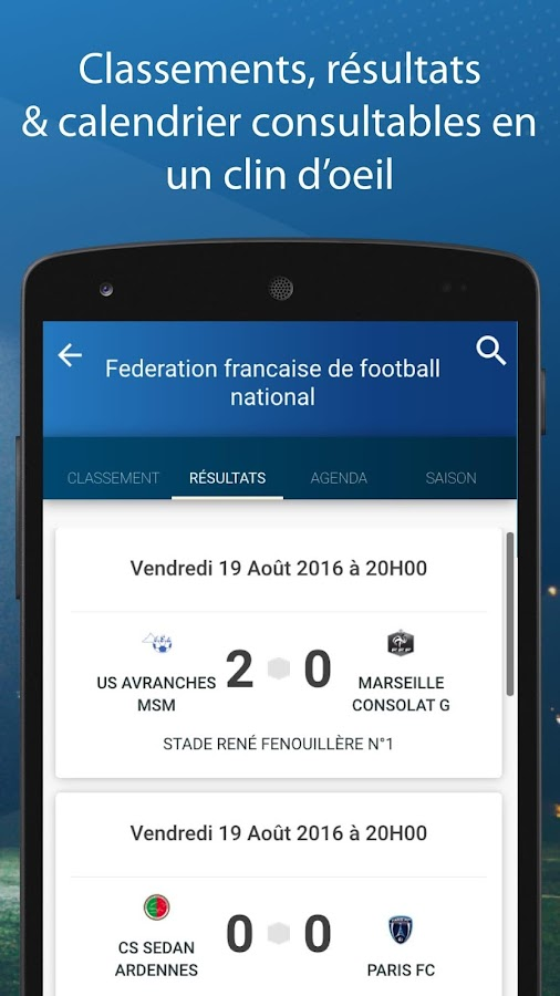 Le Foot Amateur, Matches & Ligues – Capture d'écran