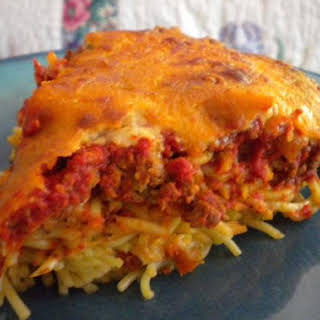 Thick and Cheesy Spaghetti Pie.