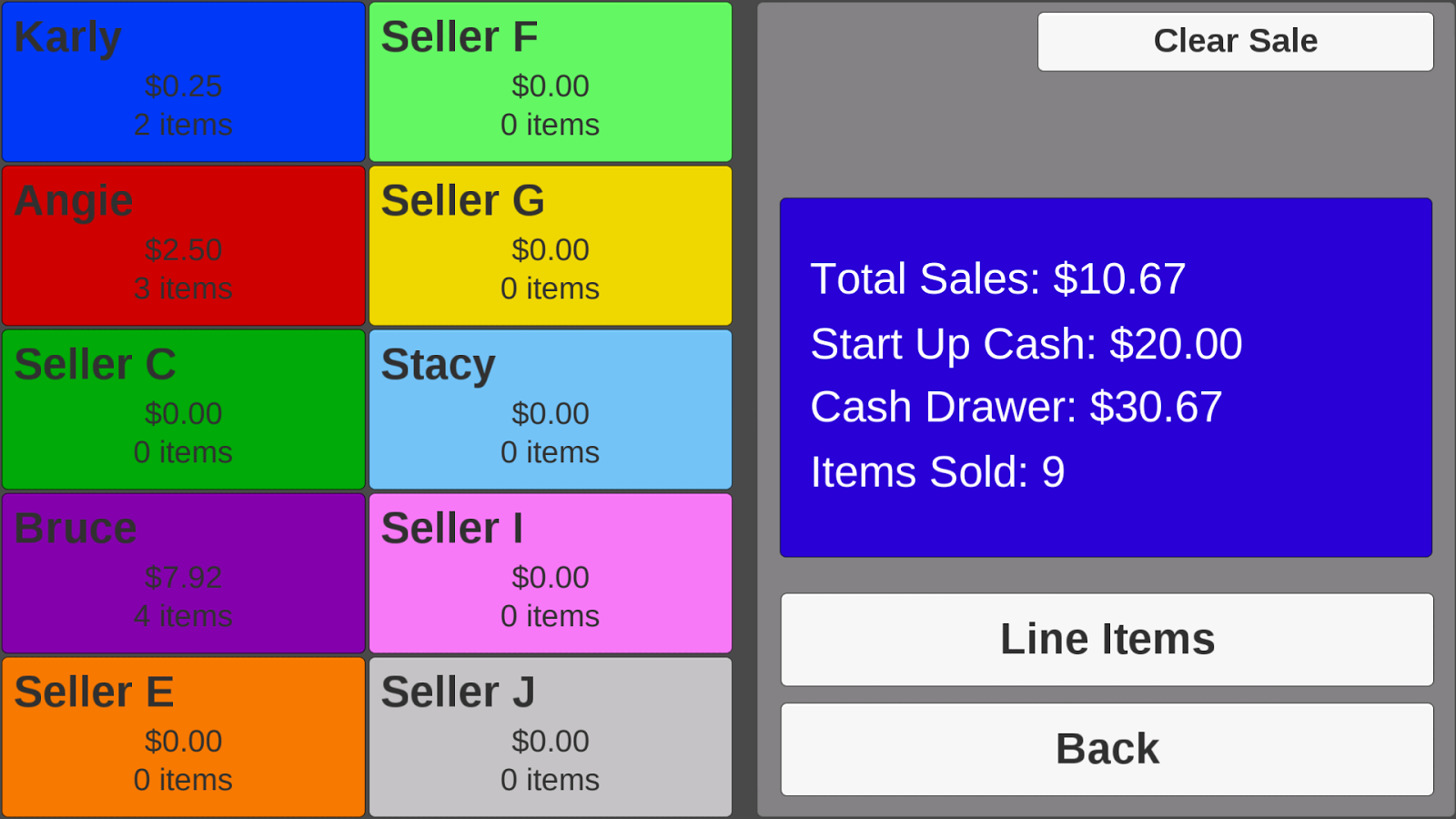 Garage Sale Checkout- screenshot