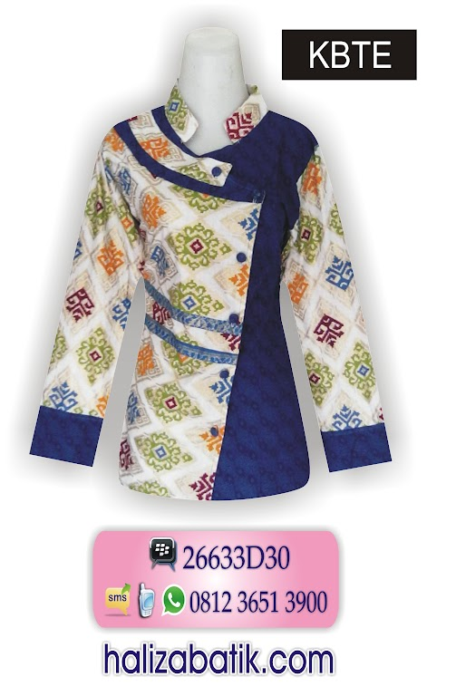 contoh baju batik modern, blouse batik wanita, gambar model batik