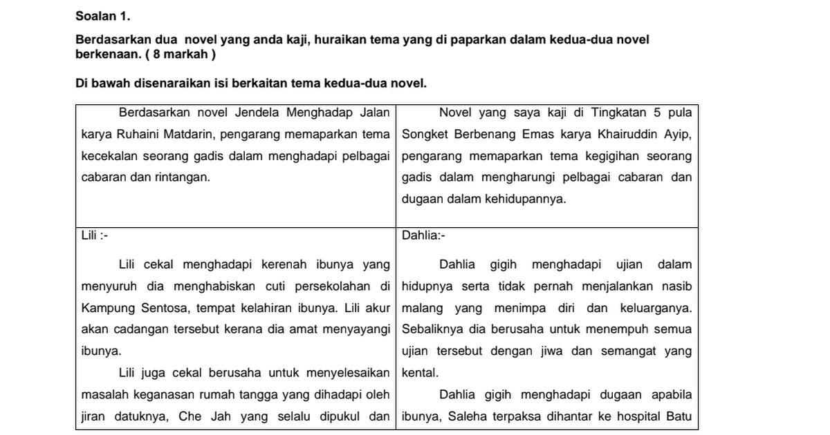 Soalan Novel 1 Dan 2 Ting 5 Sains Pdf
