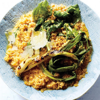Quinoa Risotto With Grilled Scallions and Arugula