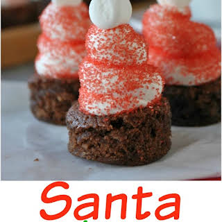 Hot Chocolate Santa Hat Brownies.