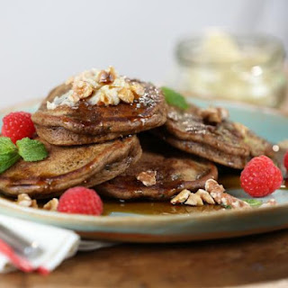 Zucchini Pancakes with Apricot Butter, Maple Syrup and Walnuts Recipe