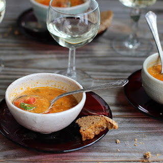 Roasted Pepper Red Lentil Soup with Tomato and Basil