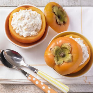 Persimmon Yogurt with Millet Flakes.