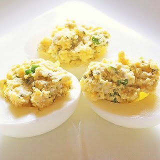 Easy Blue Cheese Deviled Eggs.