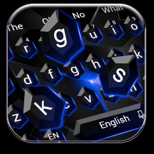 Black Blue Crystal Keyboard