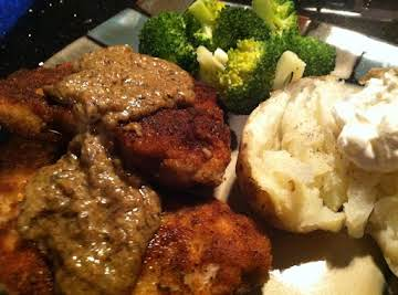 CHICKEN FRIED PORK CHOPS W/MUSTARD SAUCE
