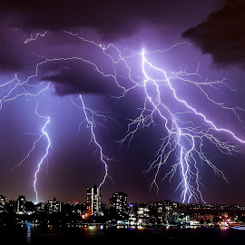 Frightening lightning  by Clarissa Human - Landscapes Weather ( lightning, thunderstorm, bright, nighttime, electric storm, weather,  )