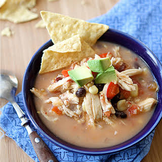 Crockpot Chicken Tortilla Soup with Black Beans & Corn (Slow Cooker).