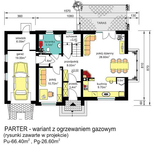 BW-03 wariant 2 - Rzut parteru - propozycja adaptacji - ogrzewanie gazowe