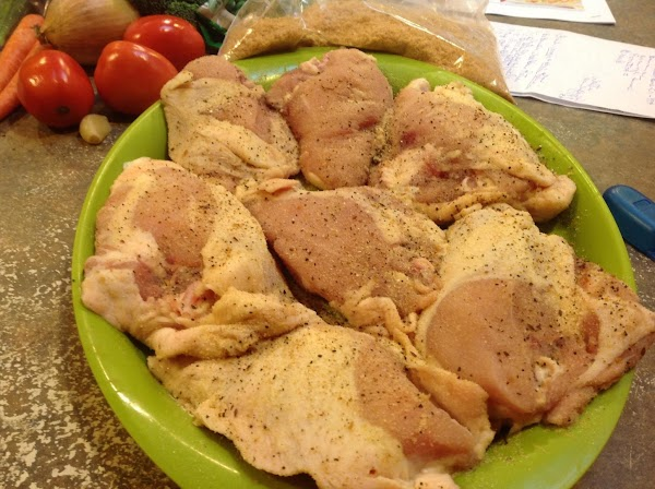 Season the chicken generously with the granulated garlic and steak seasoning on both sides,...