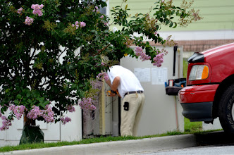 Photo: He's bugging fixing your phone lines.