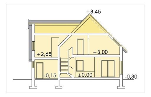 Aida wersja B poj. garaż i pokój nad garażem - Przekrój