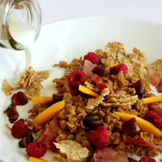 Chai Oatmeal with Bacon, Mango, Dates and Raspberries