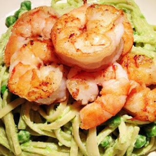 Linguini in a Creamy Pea Sauce and Sautéed Shrimp