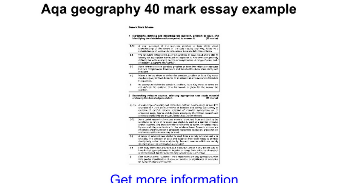 aqa geography mark essay example google docs