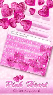 Pink Heart Glitter Keyboard - náhled