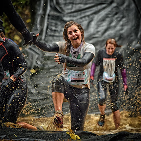 Thanks, Very Nice My Friend ! by Marco Bertamé - Sports & Fitness Other Sports ( water, mud, splatters, woman, 2015, dirty, drops, lady, number, 1480, smile, waterdrops, strongmanrun,  )