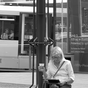 Lunch break by Brian Egerton - People Street & Candids ( city life, street scene, city, candid, black and white, street photography )
