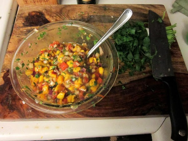While the crust is setting, you have time to make the salsa. start by...