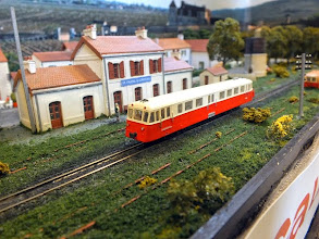 Photo: 020 A railcar pauses at St Frazel le Chateau. Excellent detailing in this tiny Nm scale .