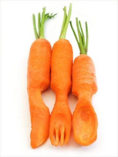 Carrots as a fork, knife and spoon.