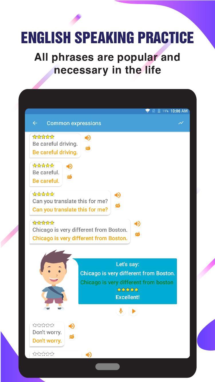 Скриншот English Speaking Practice & Vocabulary