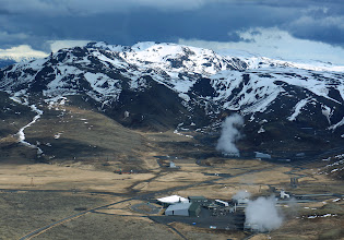 Photo: Aerial view of Hellisheiði Power Plant. Main building where we visited is bottom center.