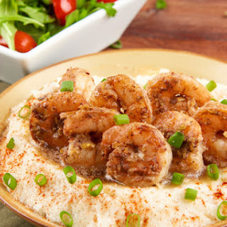 Brown Butter Shrimp and Smoked Gouda Grits With Arugula and Tomato Salad