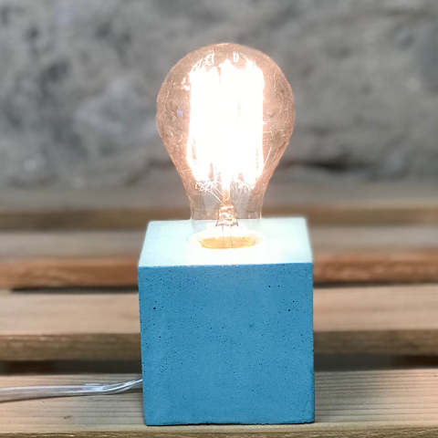 lampe cube béton turquoise