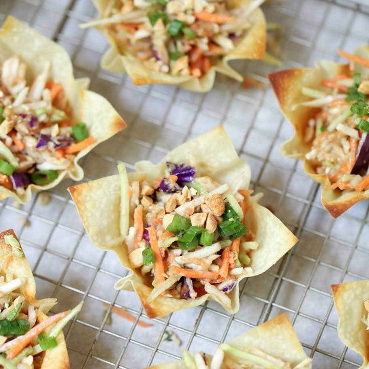 Asian Coleslaw  once Thai Peanut Dressing in Wonton Cups