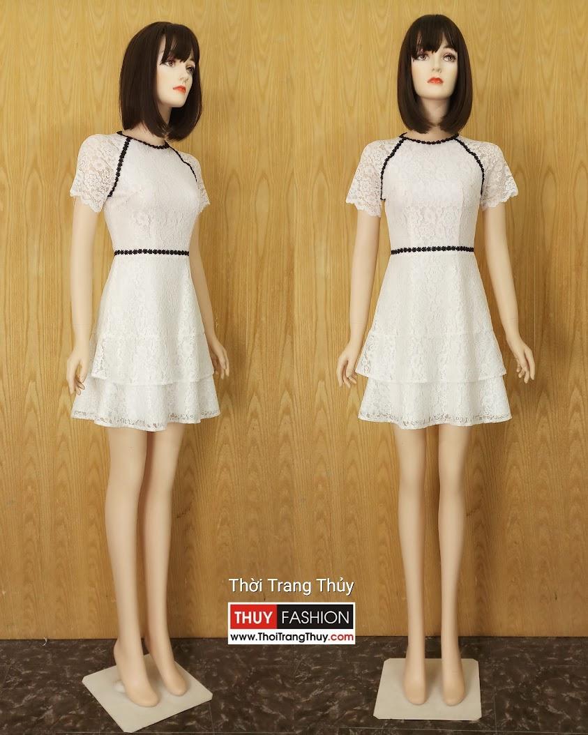 Váy ren dáng xòe màu trắng mặc dạo phố và dự tiệc V624 Thời Trang Thủy Hải Phòng