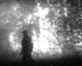 Photo: Ночь. Боец идет вдоль кромки леса. Расстояние 100 м. Пример демонстрирует эффект выделения объектов на подстилающей поверхности или разделение объектов по дальности.