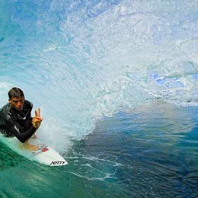 Barreled in blue by Trevor Murphy - Sports & Fitness Surfing ( water, girls, surfing, costa rica, sports, barrel )