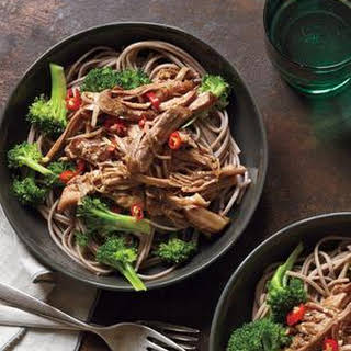 Slow-Cooker Asian Pork With Noodles and Broccoli.
