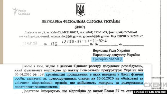 Очільник Державної фіскальної служби Сергій Солодченко інформував депутата, що все гаразд