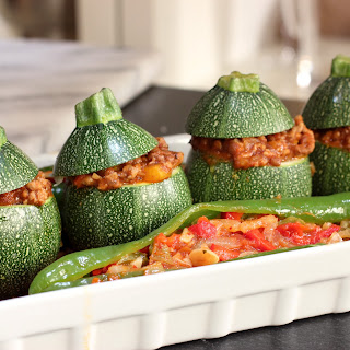 Lentil Chili Stuffed Zucchini and Piperade Peppers