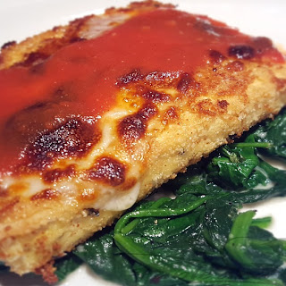 Tofu Parmesan over Garlic Spinach.