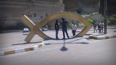 Photo: Ahmad Abdalla & 1st AD Omar Zohairy in the set of Rags & Tatters 2013 - At Samman El Kharraz monastery.