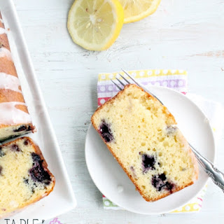 Lemon Glazed Blueberry Loaf Cake
