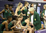 Norma Plummer, SPAR Protea coach speaks to her team in a break during the Netball Quad Series match between South Africa and England at Ellis Park Arena on January 28, 2018 in Johannesburg.