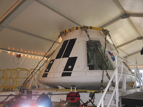 Photo: Orion Crew Module in the Lockheed-Martin tent  at Press Site near Launch Pad 39A at Kennedy Space Center, STS-35 Space Shuttle blast off!  Cape Canaveral, Florida.