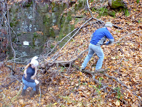 Photo: Stephanie & Bill removing branches from the hillside