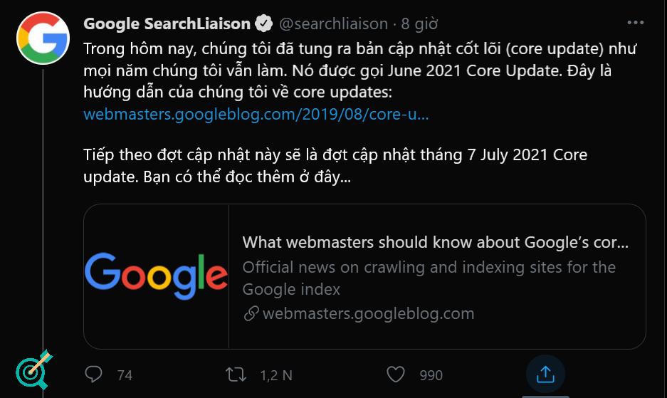 Google thông báo về Google Core Update 7 2021