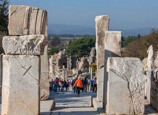 Ephesus-walkway.jpg - Tourists make their way down the main walkway of Ephesus, Turkey.