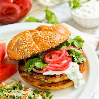 Grilled Honey Sriracha Chicken Burgers with Cilantro Cream and Pickled Onions