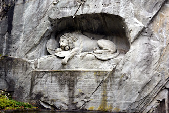 Photo: We stop at the Sleeping Lion monument as we start the bus trip to Basel