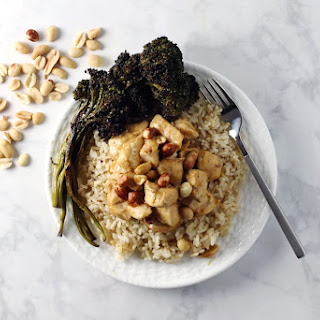 Thai Peanut Chicken with Brown Rice and Broccolini.